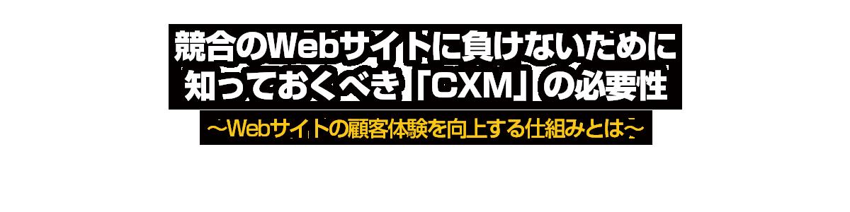 競合のWebサイトに負けないために知っておくべき「CXM」の必要性~Webサイトの顧客体験を向上する仕組みとは~